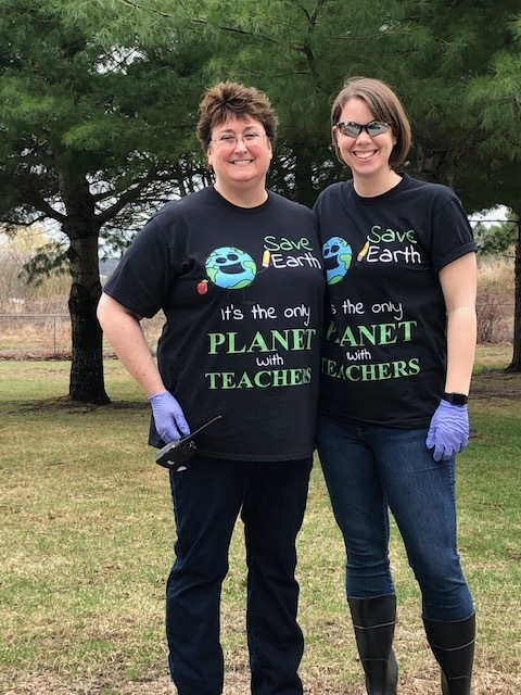 On Monday, April 22 Benton fifth graders from Mrs. Therrien's, Ms. Burkhart's and Mrs. Goodrich's classes spent time cleaning up the playground and school surroundings in dedication to Earth Day.
